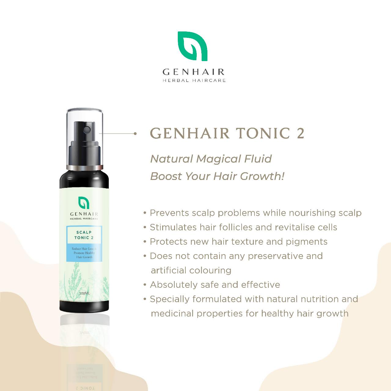 Genhair herbal tonic 2 hair growth booster