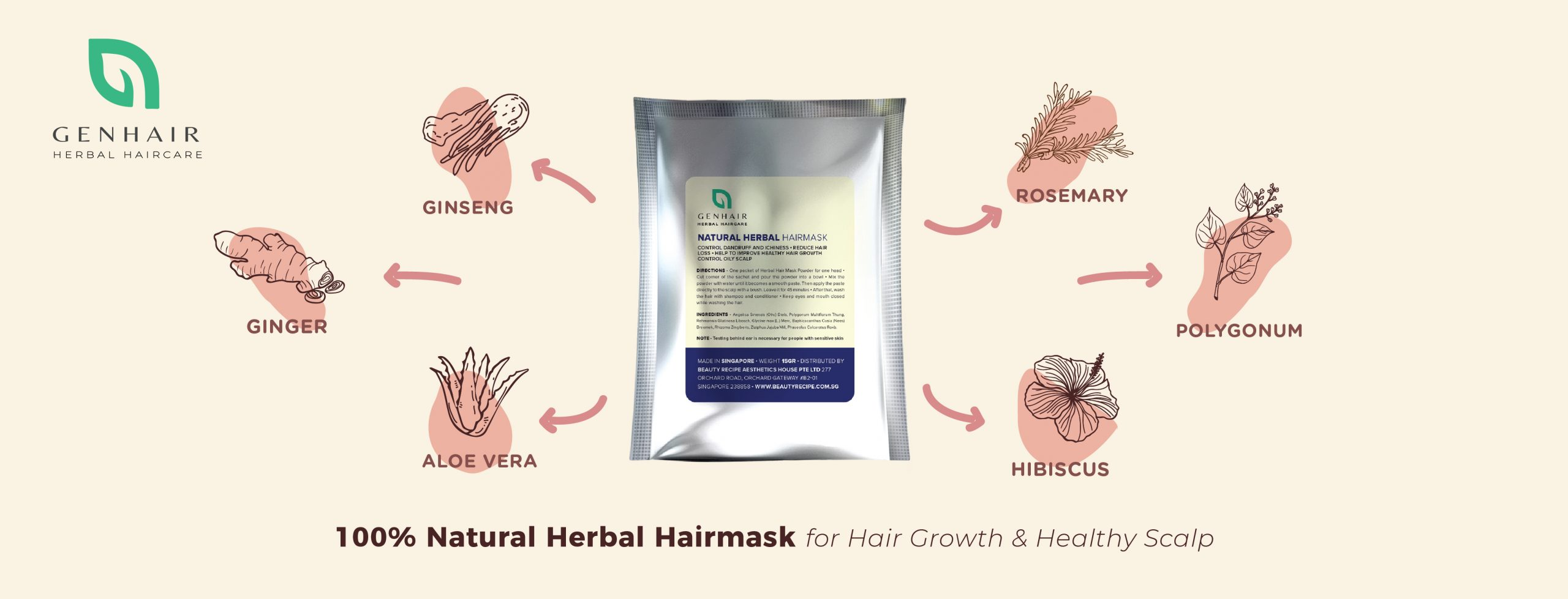 100% natural hair growth herbal mask scalp treatment for hair loss